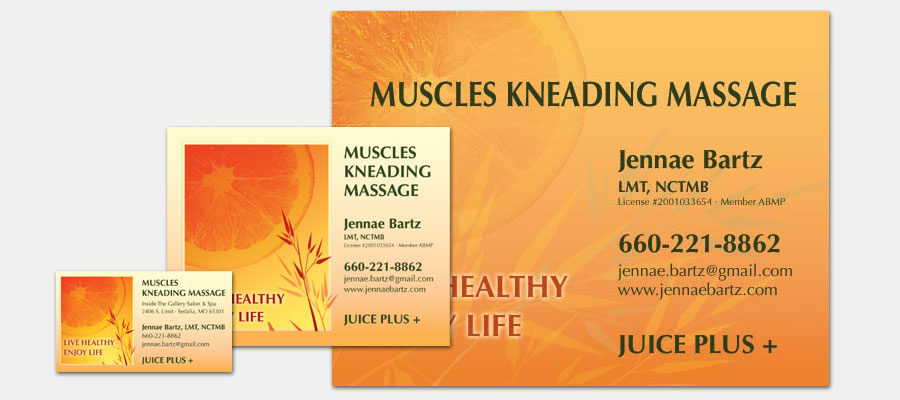 Muscles Kneading Massage - Sign, Postcard and Business Card
