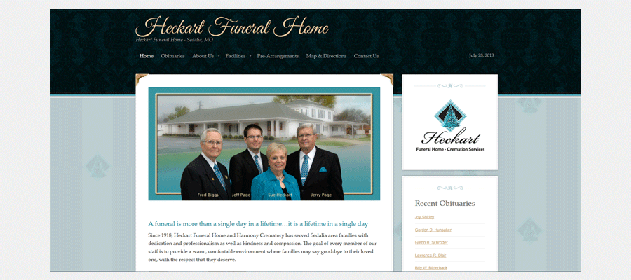 Heckart Funeral Home - website design by Sullivan Creative