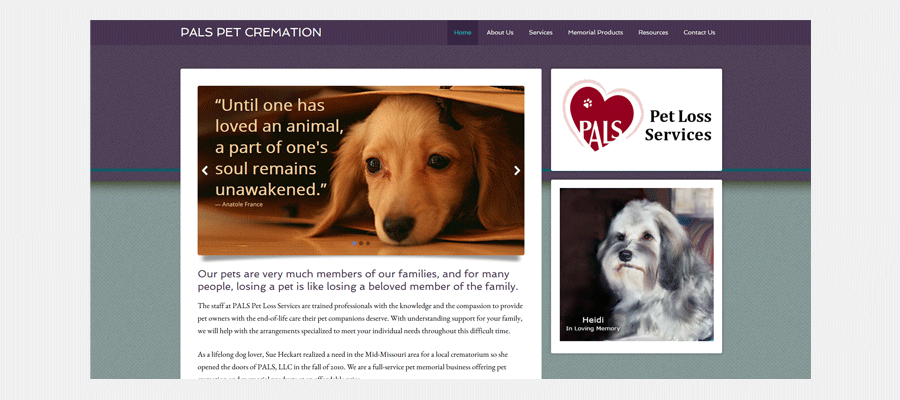 PALS Pet Loss Services - website design by Sullivan Creative