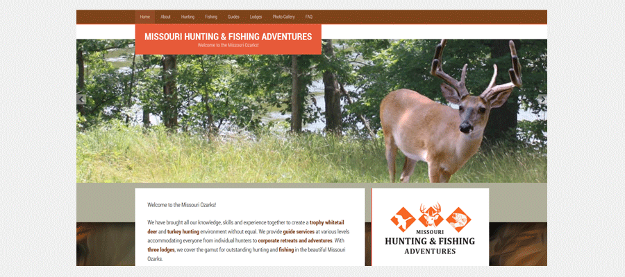 Missouri Hunting & Fishing Adventures - website design by Sullivan Creative