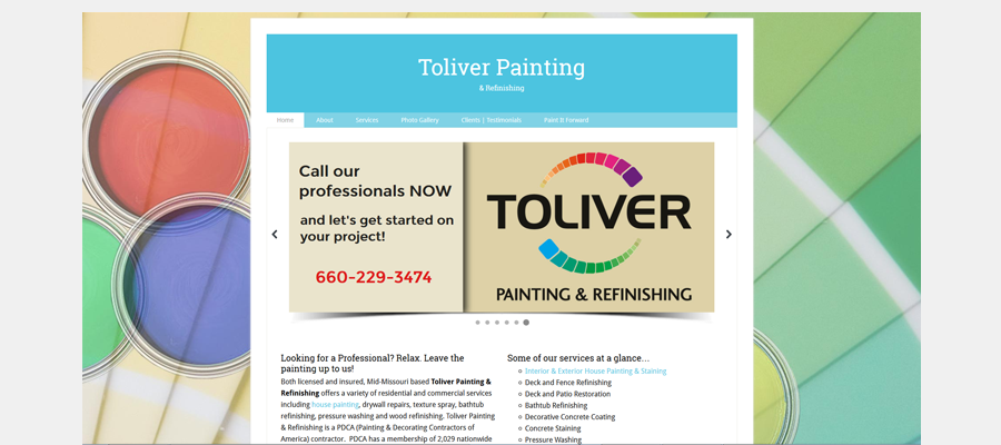 Toliver Painting - website design by Sullivan Creative