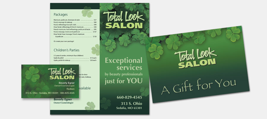 Total Look Salon - Brochure, Gift Card and Business Card