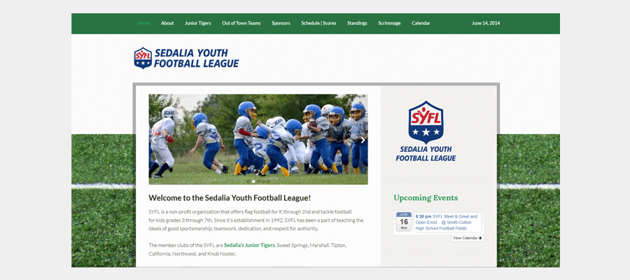 Sedalia Youth Football - website design by Sullivan Creative