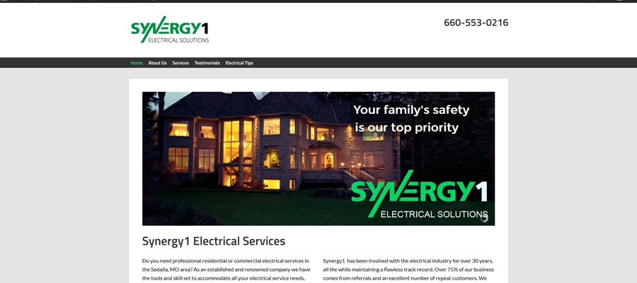 Synergy1 Electric - website design by Sullivan Creative