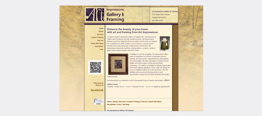 Art Impressions Gallery & Framing website