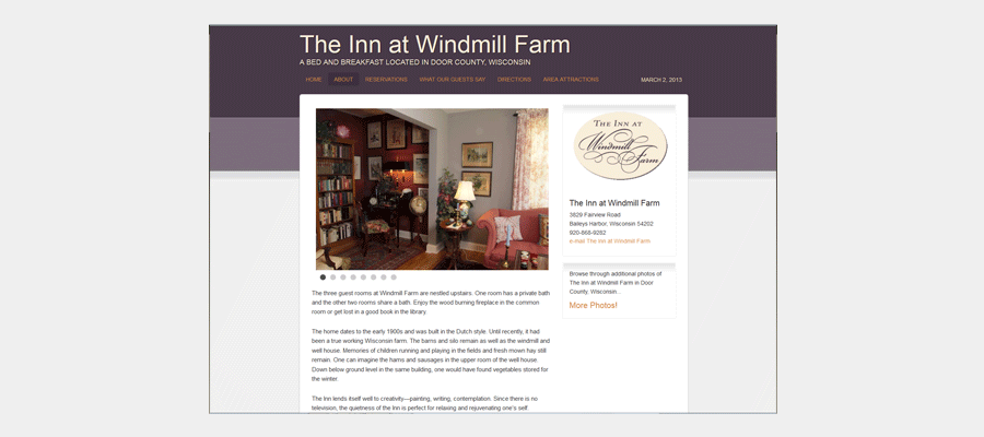 1900 Windmill Farm - website design by Sullivan Creative