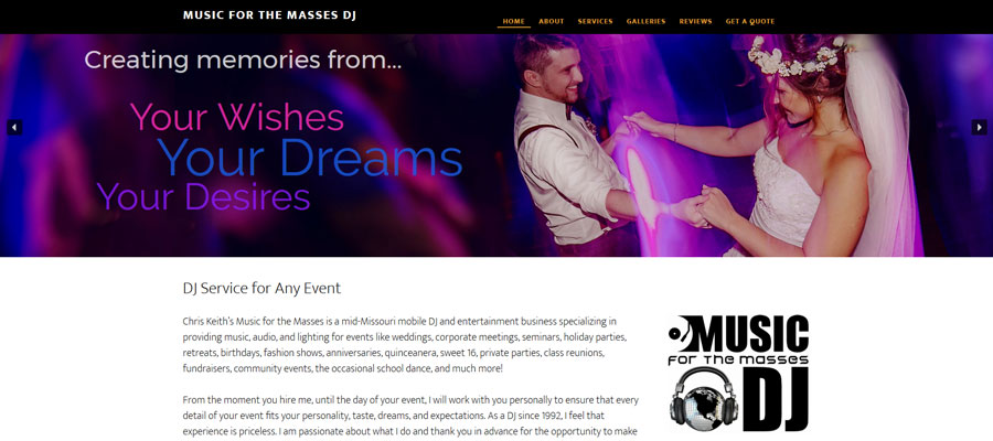 Music for the Masses DJ - website by Sullivan Creative